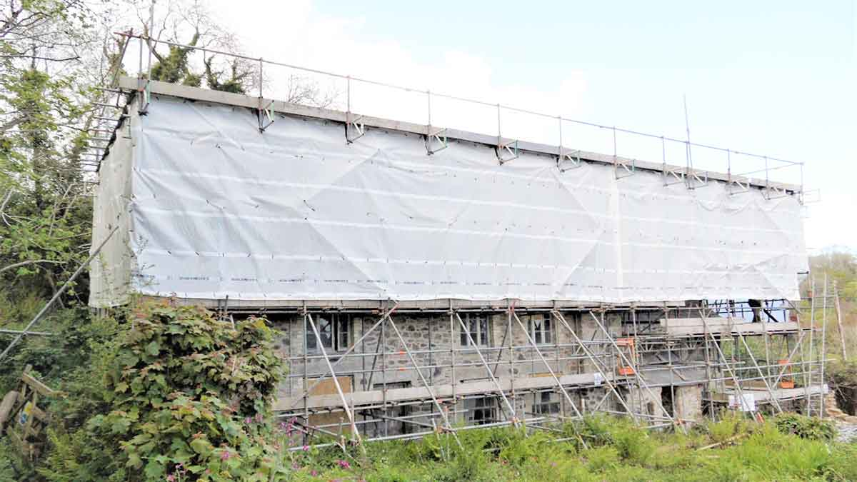 external shot of scaffolding on conservation property project in st austell