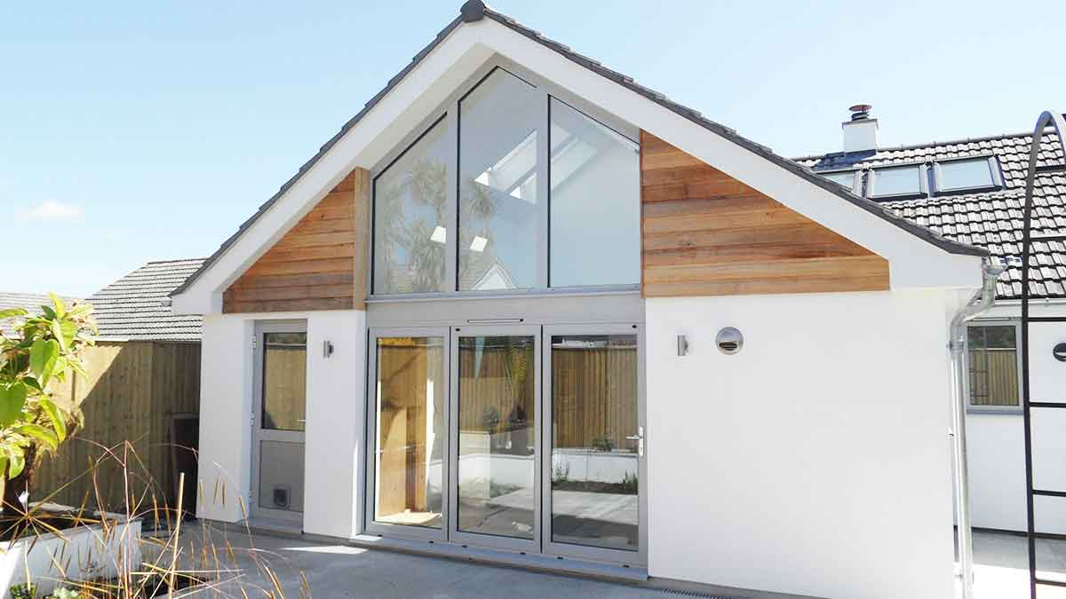 external shot of extension designed by architect in falmouth