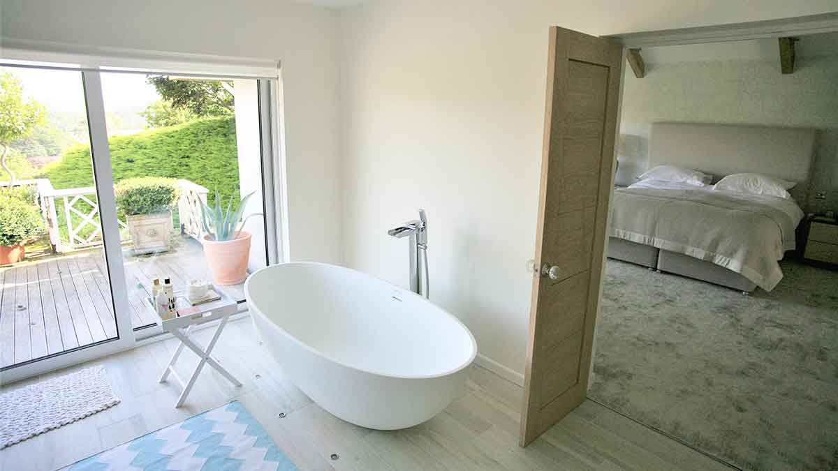 internal photo of bathroom ensuite designed by architect in cornwall